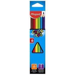"""Színes ceruza készlet, háromszögletű, MAPED """"Color'Peps"""", 6 különböző szín (IMA832002)"""