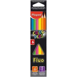 """Színes ceruza készlet, háromszögletű, MAPED """"Color'Peps Fluo"""", 6 különböző szín (IMA832003)"""