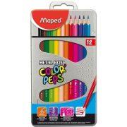 """Színes ceruza készlet, háromszögletű, fém doboz, MAPED """"Color'Peps"""", 12 különböző szín (IMA832014)"""