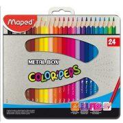 """Színes ceruza készlet, háromszögletű, fém doboz, MAPED """"Color'Peps"""", 24 különböző szín (IMA832016)"""