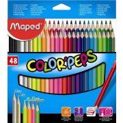 """Színes ceruza készlet, háromszögletű, MAPED """"Color'Peps"""", 48 különböző szín (IMA832048)"""