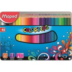 """Színes ceruza készlet, háromszögletű, fém doboz, MAPED """"Color'Peps"""", 48 különböző szín"""