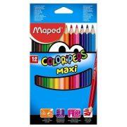 """Színes ceruza készlet, háromszögletű, vastag, MAPED """"Color'Peps Maxi"""", 12 különböző szín (IMA834010)"""