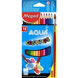 """Akvarell ceruza készlet, háromszögletű, ecsettel, MAPED """"Color'Peps"""", 12 különböző szín (IMA836011)"""