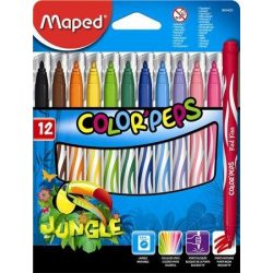"""Filctoll készlet, 2,8 mm, kimosható, MAPED """"Color'Peps Jungle"""", 12 különböző szín (IMA845420)"""