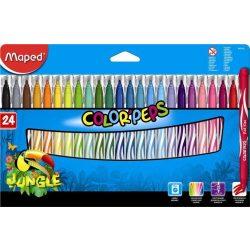"""Filctoll készlet, 2,8 mm, kimosható, MAPED """"Color'Peps Jungle"""", 24 különböző szín (IMA845422)"""