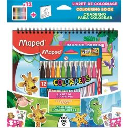 """Filctoll készlet, 2,8 mm, kimosható, MAPED """"Color'Peps Jungle"""", 12 szín + kifestőkönyv"""