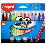 """Filctoll készlet, 1-6 mm, kimosható, vastag, MAPED """"Color'Peps Maxi"""", 12 különböző szín (IMA846020)"""