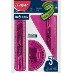 """Vonalzókészlet, műanyag, törhetetlen, 3 darabos, MAPED """"Twist'n Flex"""" (IMA895024)"""