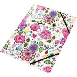 "Gumis mappa, 15 mm, PP, A4, PANTA PLAST, ""Flowers"""