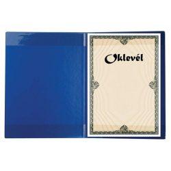 Oklevéltartó, plüss, A4, VICTORIA, kék (IOKT)
