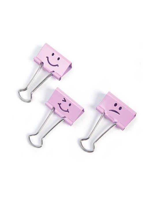 """Bindercsipesz, 19 mm, """"Emoji"""", RAPESCO, rózsaszín"""