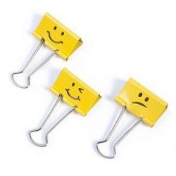 "Bindercsipesz, 19 mm, ""Emoji"", RAPESCO, sárga"