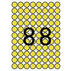 Etikett, 16 mm kör, színes, A5 hordozón, APLI, sárga, 704 etiket