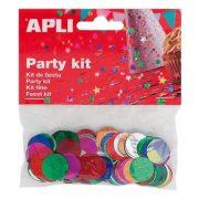 Konfetti, metál,15 mm, kör, APLI, vegyes színek