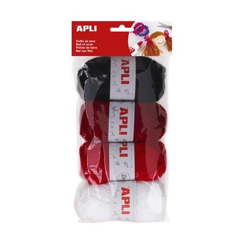 """Gombolyag készlet, APLI """"Kids"""", bordó-fekete-fehér színek (LCA14091)"""