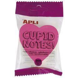 """Öntapadó jegyzettömb, szív alakú, 200 lap, APLI """"Cupid notes"""""""