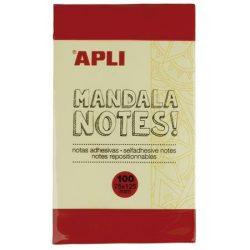 """Öntapadó jegyzettömb, 125x75 mm, 100 lap, APLI """"Mandala notes"""""""