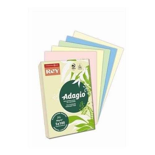 """Másolópapír, színes, A4, 80 g, 5x100 lap, REY """"Adagio"""", pasztell mix (LIPAD48PX)"""