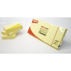 Öntapadó jegyzettömb, 40x50 mm, 3x100 lap, APLI, sárga