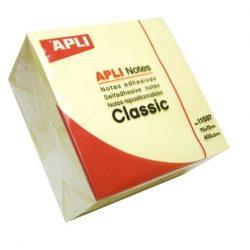 Öntapadó jegyzettömb, 75x75 mm, 400 lap, APLI, sárga