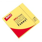 Öntapadó jegyzettömb, 75x75 mm, 100 lap, APLI, neon sárga