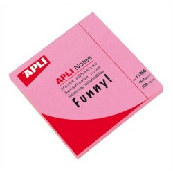 Öntapadó jegyzettömb, 75x75 mm, 100 lap, APLI, neon rózsaszín
