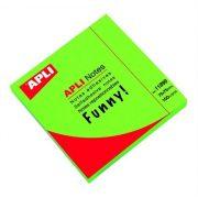 Öntapadó jegyzettömb, 75x75 mm, 100 lap, APLI, neon zöld