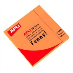 Öntapadó jegyzettömb, 75x75 mm, 100 lap, APLI, neon narancs
