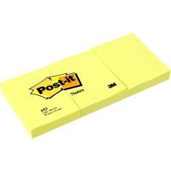 Öntapadó jegyzettömb, 38x51 mm, 100 lap, 3 tömb, 3M POSTIT, kanári sárga