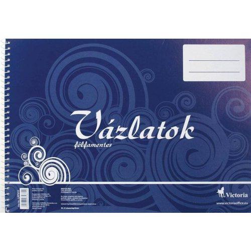 Vázlatfüzet, félfamentes, B4, spirál, 32 lap, VICTORIA (LPFV11)