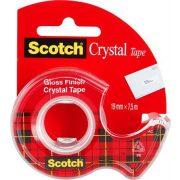 """Ragasztószalag, adagolón, kézi, 19 mm x 7,5 m, 3M SCOTCH """"Crystal"""""""
