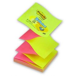 """Öntapadó jegyzettömb, """"Z"""", 76x76 mm, 100 lap, 3M POSTIT, sárga-rózsaszín (LPR330NA)"""