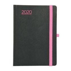 """Naptár 2020, tervező, B6, napi, TOPTIMER, """"Nero"""", fekete-pink"""