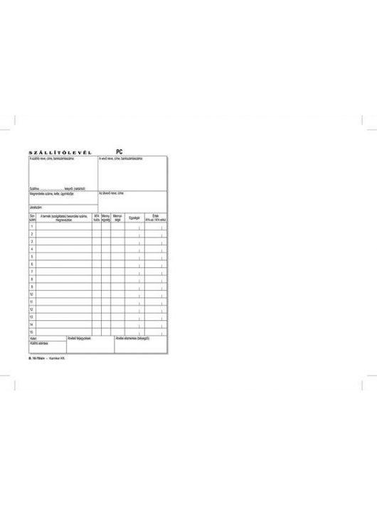 """Nyomtatvány, szállítólevél, 50x3, A5,  """"B.10-70"""" (NVB1070503A5)"""