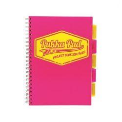 """Spirálfüzet, A4, vonalas, 100 lap, PUKKA PAD """"Neon project book"""", rózsaszín"""