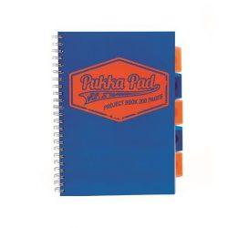 """Spirálfüzet, A4, vonalas, 100 lap, PUKKA PAD """"Neon project book"""", kék"""