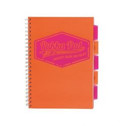 "Spirálfüzet, A4, vonalas, 100 lap, PUKKA PAD ""Neon project book"", narancs"