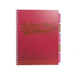 """Spirálfüzet, A4+, kockás, 100 lap, PUKKA PAD, """"Blush project book"""", korall"""