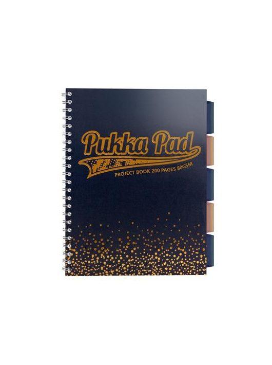 """Spirálfüzet, A4+, kockás, 100 lap, PUKKA PAD, """"Blush project book"""", tengerészkék"""