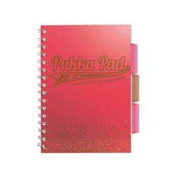 """Spirálfüzet, A5, vonalas, 100 lap, PUKKA PAD, """"Blush project book"""", korall"""