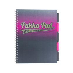 """Spirálfüzet, A4+, vonalas, 100 lap, PUKKA PAD, """"Electra project book"""", rózsaszín"""