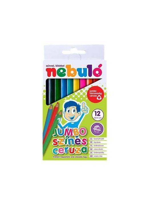 Színes ceruza készlet, háromszögletű,  jumbo, NEBULÓ, 12 különböző szín (RNEBJSZ)