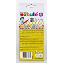 Színes ceruza készlet, hatszögletű,  NEBULÓ, 12 különböző szín (RNEBSZC12EN)