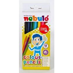 Színes ceruza készlet, háromszögletű,  NEBULÓ, 12 különböző szín (RNEBSZC12HEN)