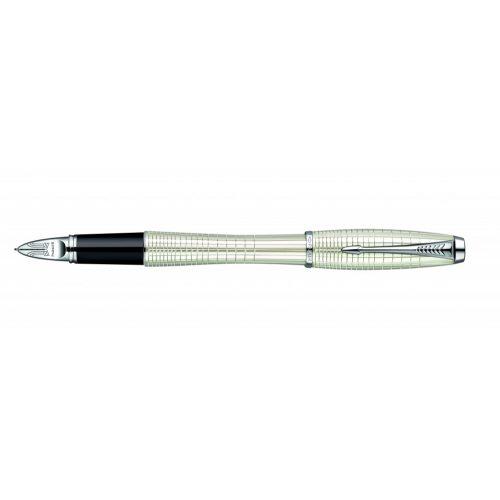Golyóstoll, 0,5 mm, kupakos, ezüst színű klip, gyöngyházfehér tolltest, PARKER Urban Premium 5th, fekete (ICPUP5FK)