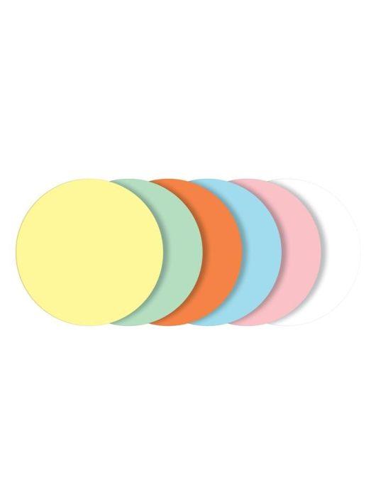 Moderációs kártyák, kerek, 10 cm átmérő, 6 szín, SIGEL, vegyes színek