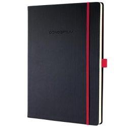 """Jegyzetfüzet, exkluzív, A4, vonalas, 194 oldal, keményfedeles, SIGEL """"Conceptum Red Edition"""", fekte-piros"""