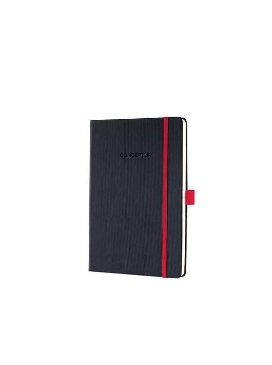 """Jegyzetfüzet, exkluzív, A5, vonalas, 194 oldal, keményfedeles, SIGEL """"Conceptum Red Edition"""", fekete-piros"""