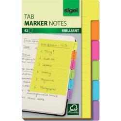 Jelölőlap, papír, 6x7 lap, 98x148 mm, SIGEL, 6 különböző szín